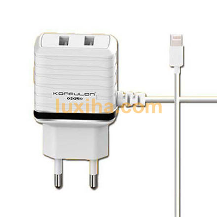 KONFULON C33 Lightning Dual USB travel charger luxiha