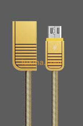 کابل ریمکس تبدیل یو اس بی به میکرو یو اس بی 1 مترمدل rc-088mطلایی فلزی وفنری